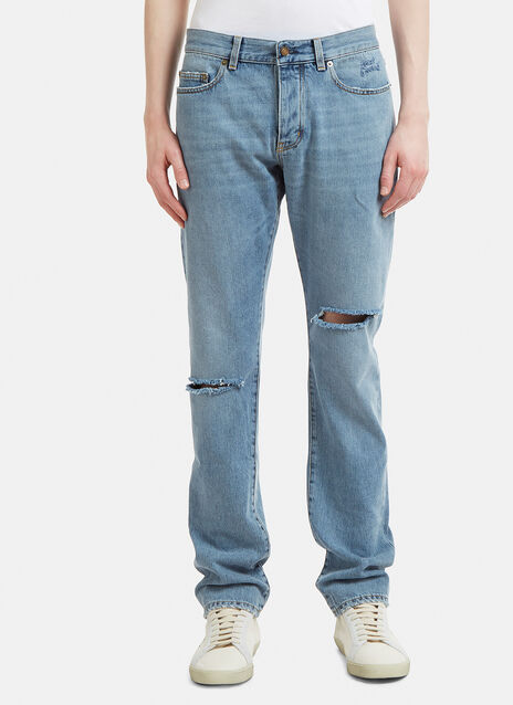 Saint Laurent Slim Embroidered Logo Jeans