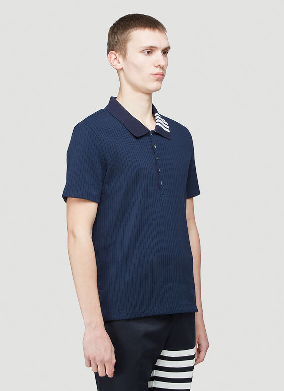 Thom Browne SHORT SLEEVE POLO W 4 BAR COLLAR IN 5X2 RIB 5