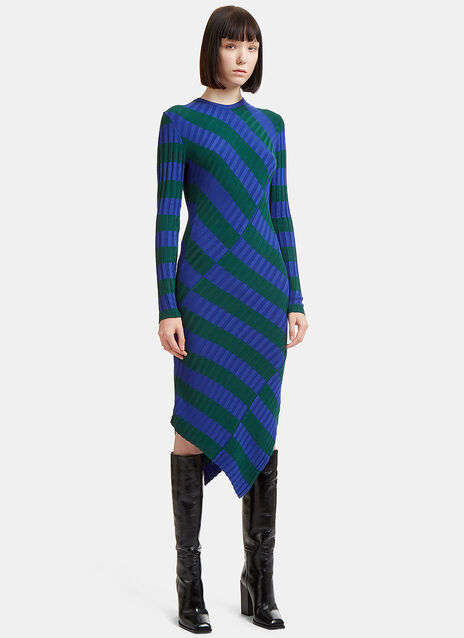 Asymmetric Striped Rib Sweater Dress