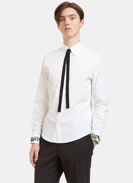 Duke Floral Embroidered Ribbon Tie Shirt
