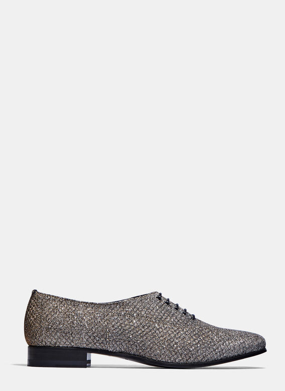 Saint Laurent. Women s Sparkly Lace-Up Shoes in Silver and Gold f71c65db4c