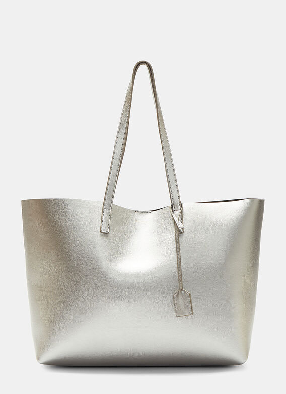 492f4ff903d27 Saint Laurent. Large Shopping Tote Bag in Silver