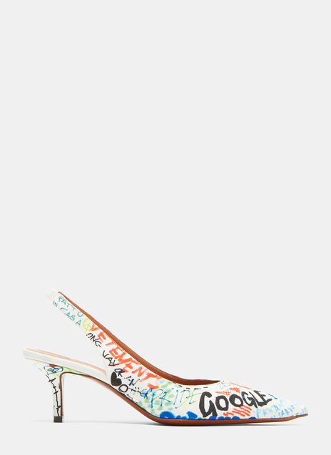 Vetements Graffiti Print Sling Back Heels