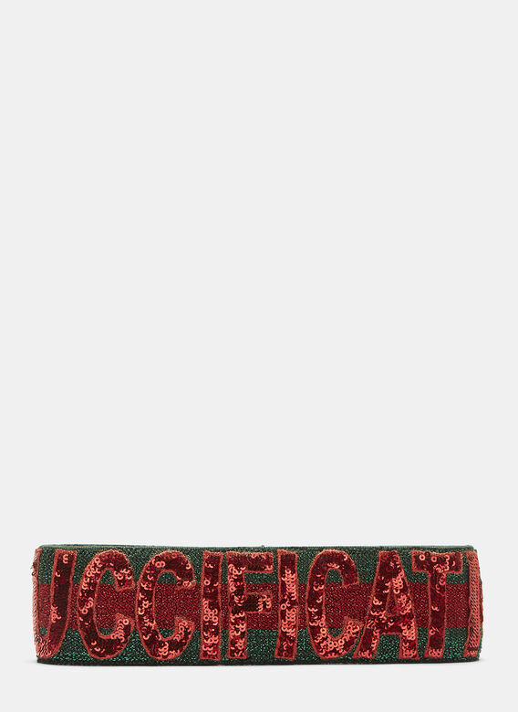 f5b1f266805 Guccification Sequinned Headband in Red and Green