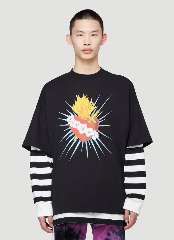 Palm Angels Tops Sacred Heart Layered T-Shirt in Black