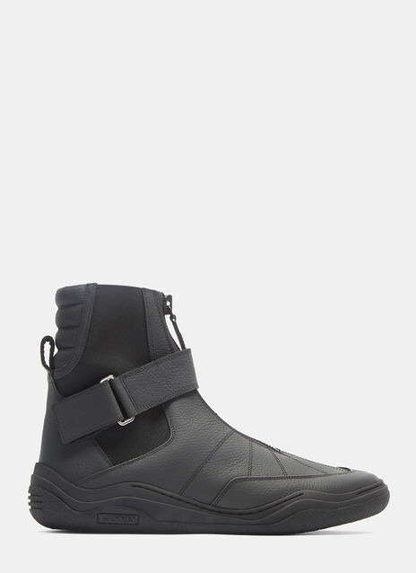 Lanvin Diving Strapped High-Top Leather Sneakers