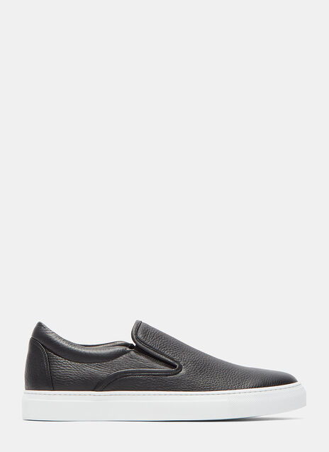 Slip-On Grained Leather Sneakers