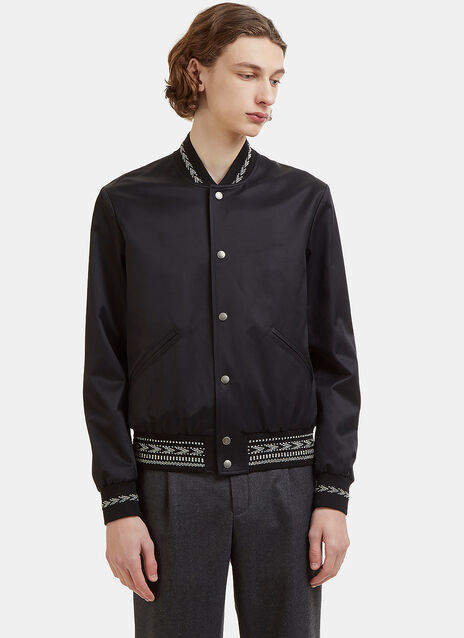 Saint Laurent Ikat Trim Teddy Jacket
