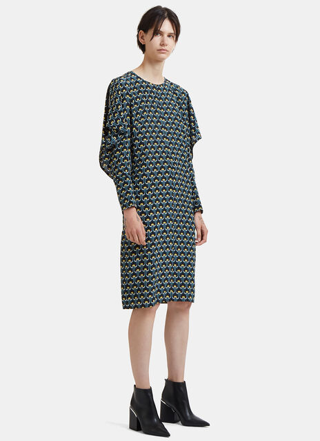 Oversized Flower Jacquard Dress