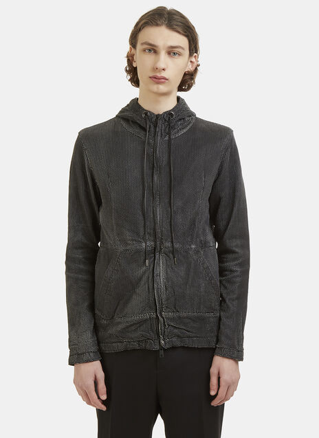 Giorgio Brato Perforated Leather Hooded Jacket