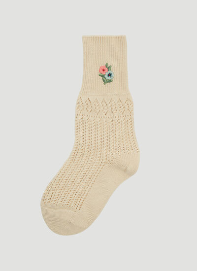 Gucci Floral Embroidered Crochet Socks
