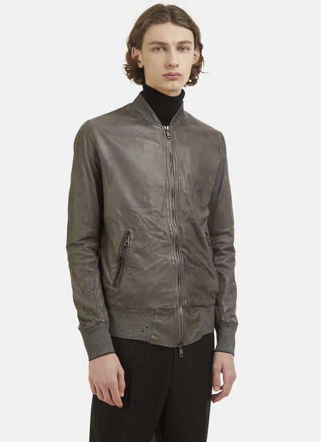 Giorgio Brato Leather Bomber Jacket