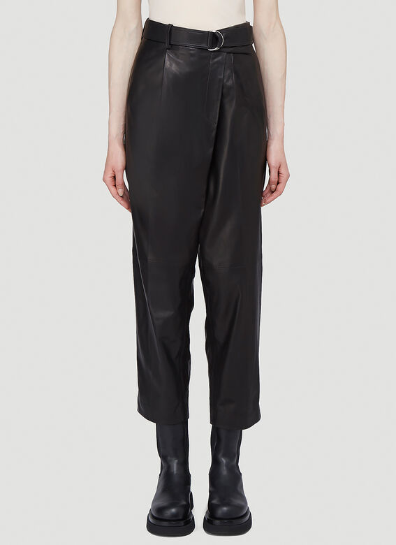 Helmut Lang Wrap-Over Leather Pants in Black