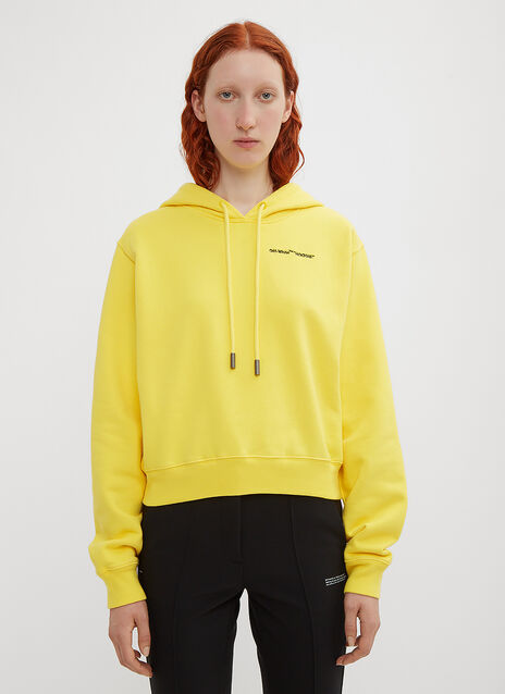 Off-White Cropped Quotes Hoodie