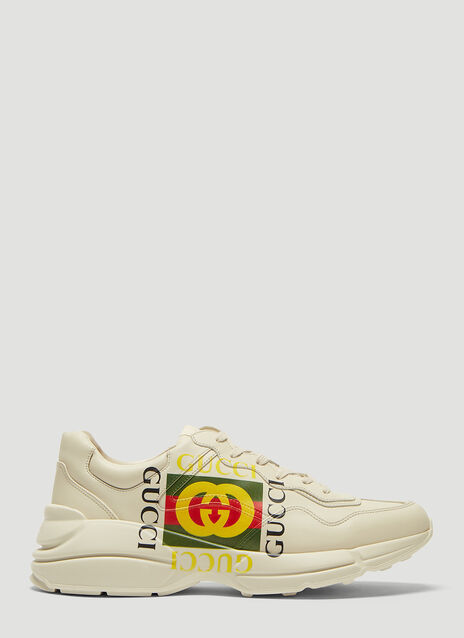 Gucci Rhyton Gucci Logo Leather Sneakers