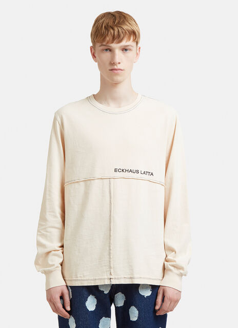 Eckhaus Latta Long Sleeve Lapped Text Back T-Shirt