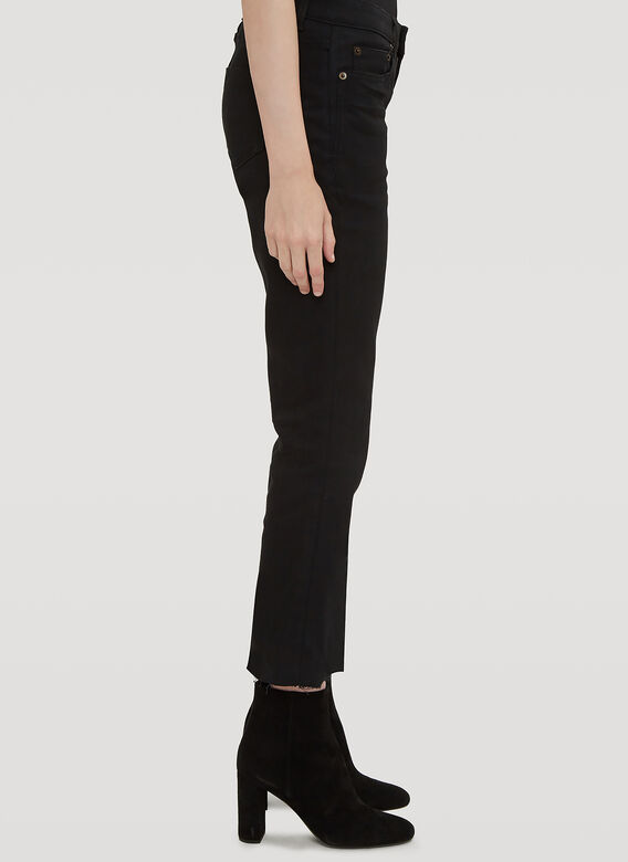 Saint Laurent Cropped Raw Edge Bootcut Jeans