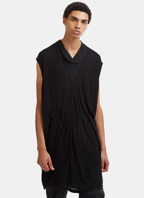 Rick Owens Cap Sleeved Crêpe de Chine Cowl Neck Top