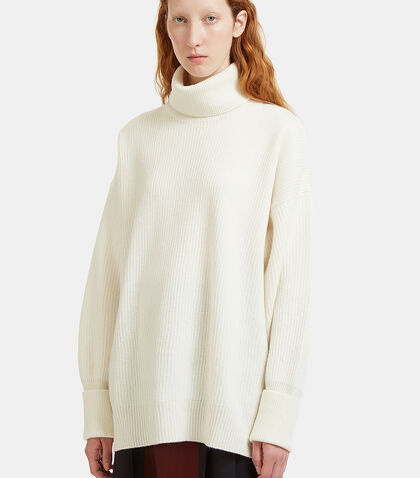 Oversized Roll Neck Ribbed Knit Sweater