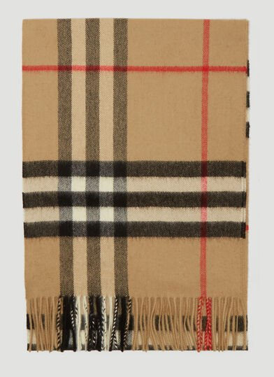 버버리 Burberry Vintage Check Knit Scarf in Beige