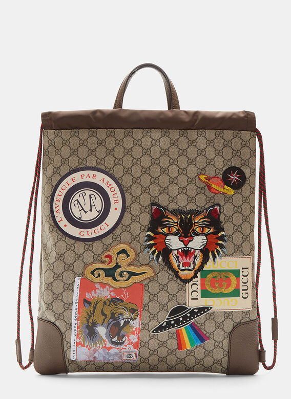 Gucci Courier GG Supreme Drawstring Backpack in Brown 26ece8033624b