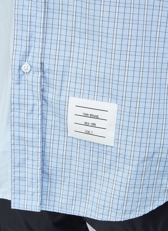 Thom Browne STRAIGHT FIT BUTTON DOWN SHORT SLEEVE SHIRT FUNMIX IN SMALL HAIRLINE CHECK POPLIN 5