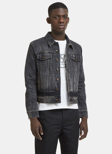 Saint Laurent Stonewashed Denim Jacket with Band