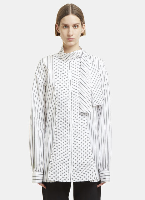 JW Anderson Striped Asymmetric Pleat Placket Shirt