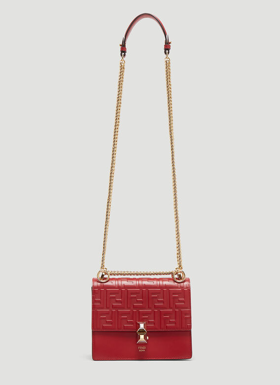 10a4b228c4c1 Fendi Kan I Small Leather Shoulder Bag in Red