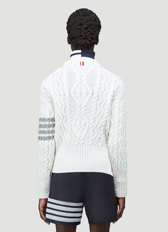 Thom Browne CLASSIC ARAN CABLE CREW NECK PULLOVER W/ 4 BAR SLEEVE IN FINE MERINO WOOL 4