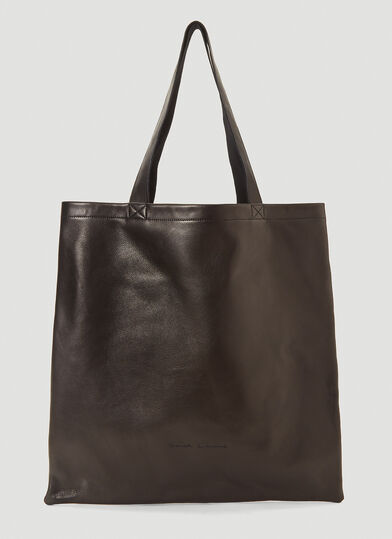 릭 오웬스 Rick Owens Large Logo-Debossed Tote Bag in Black