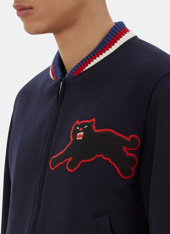 764433bc Gucci Embroidered Panther Patch Bomber Jacket
