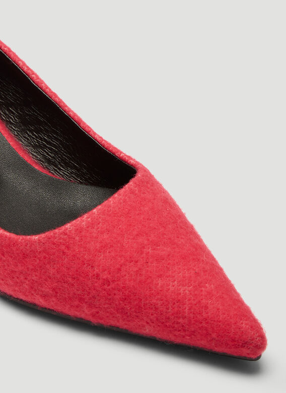 Flat Apartment PINK FURRY POINTED FLAT HEELS 5