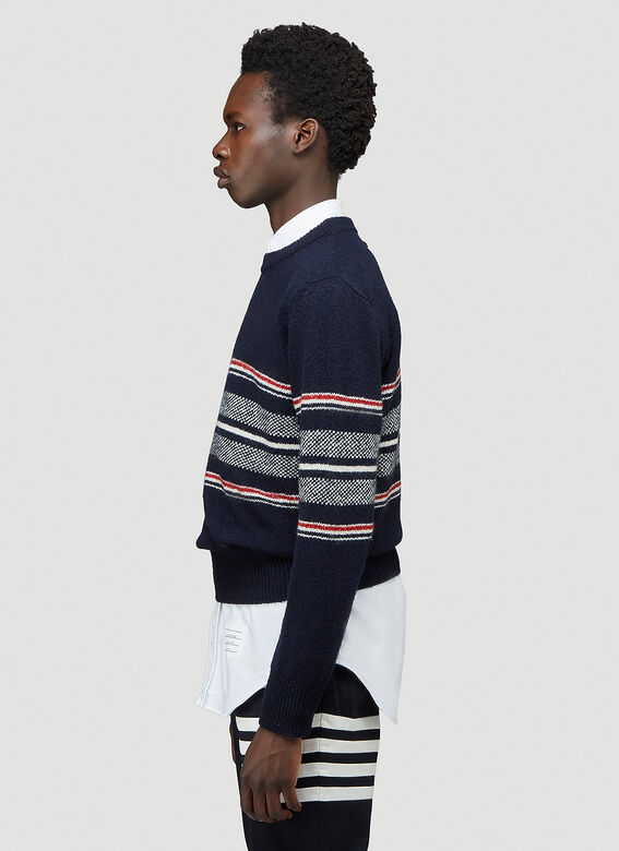 Thom Browne JERSEY SEASONAL BIRDSEYE JACQUARD CRICKET STRIPE RELAXED FIT CREWNECK PULLOVER IN MOHAIR TWEED 3