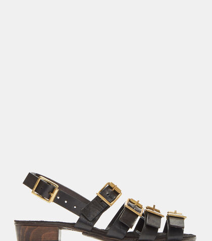 Buckled Strap Leather Sandals