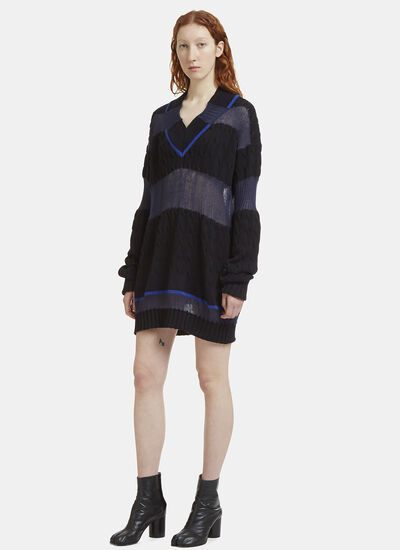 Maison Margiela Oversized Striped Panel Knit Sweater
