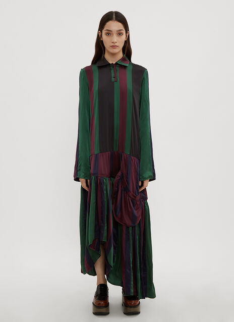 JW Anderson Striped Drop-Waist Hoop Dress