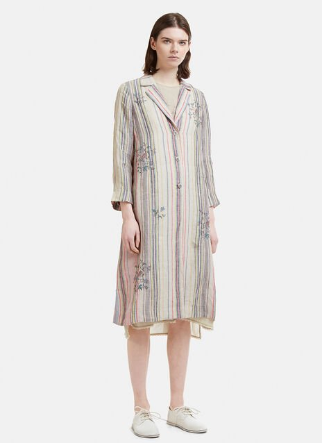 Eka Floral Print Striped Linen Jacket
