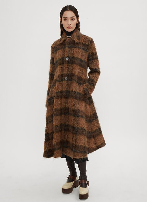 Acne Studios Striped Furry A-Line Trench Coat