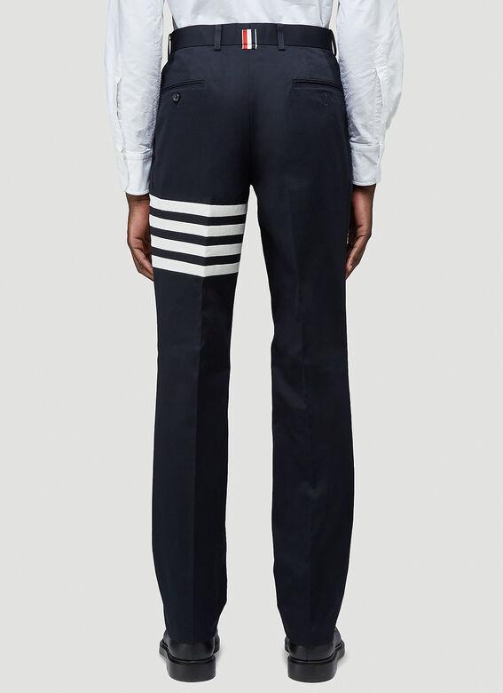 Thom Browne UNCONSTRUCTED CHINO TROUSER W/ SEAMED IN 4 BAR STRIPE IN COTTON TWILL 4