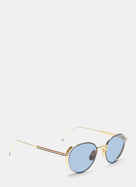 Thom Browne Tri-Coloured Ridged Gold-Rimmed Frame Sunglasses