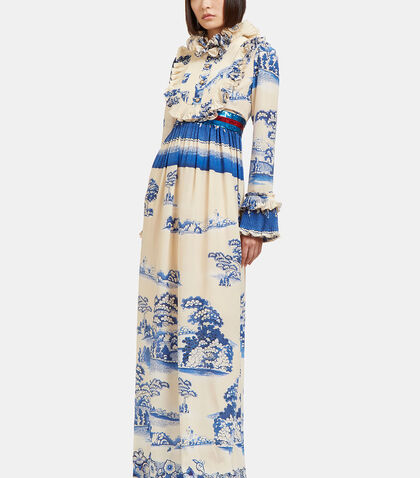 Long Porcelain Garden Printed Ruffled Gown