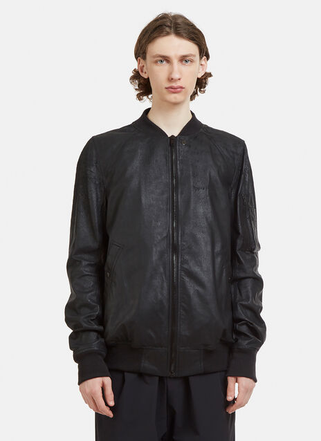 Rick Owens Raglan Sleeve Leather Bomber Jacket