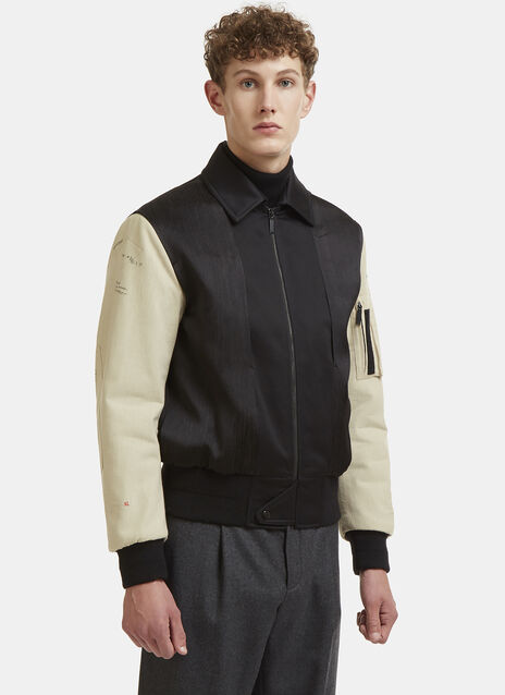 Military Embroidered Contrast Bomber Jacket