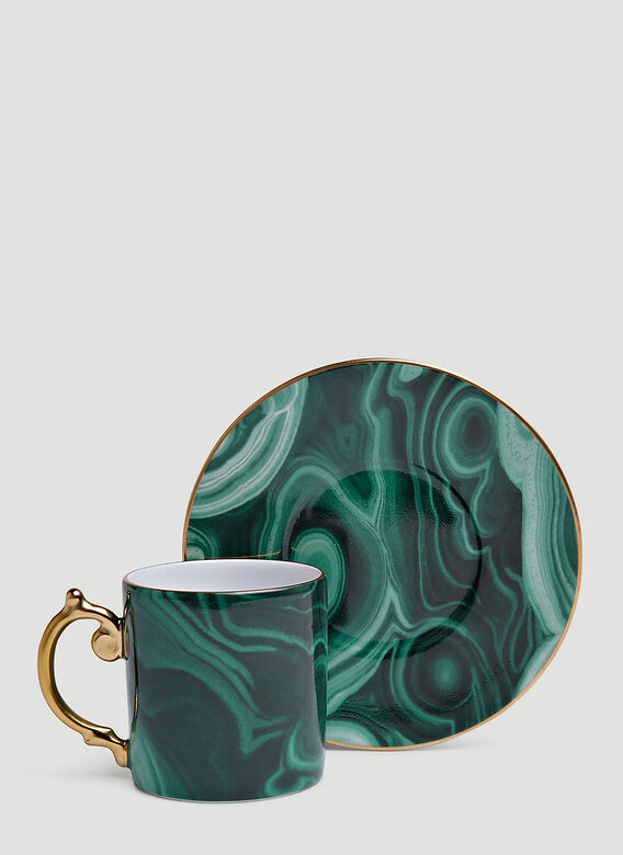 L'Objet Set of Six Malachite Espresso Cup and Saucer 3
