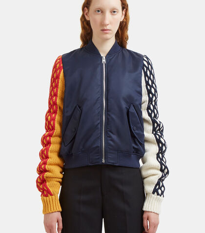 Contrast Cable Knit Sleeved Bomber Jacket