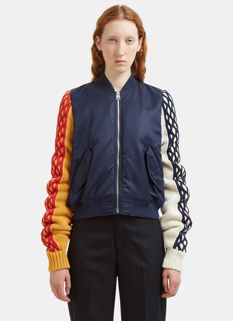 JW Anderson Contrast Cable Knit Sleeved Bomber Jacket