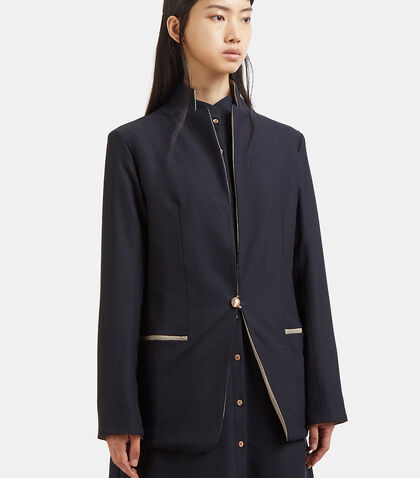 Contrast Collared Blazer Jacket