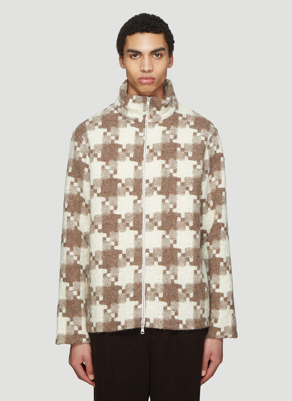 Our Legacy Sweaters Borrowed Check Funnel Neck Sweater in Brown