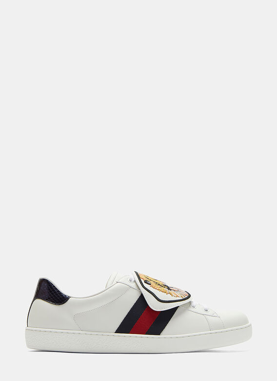 f6c649b7df38 Ace Removable Embroidered Tiger Patch Sneakers in White